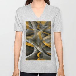Eighties Retro Mustard Yellow and Grey Abstract Curves Unisex V-Neck