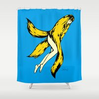 banana Shower Curtains featuring banana by shunsuke art