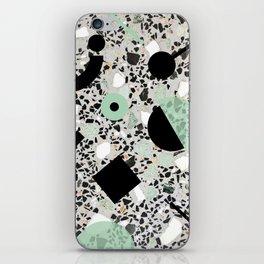Terrazzo Design Memphis Style Green and Black iPhone Skin