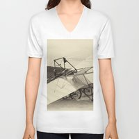 aviation V-neck T-shirts featuring Airplane by DistinctyDesign
