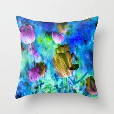 Blue Ocean of Tulips Throw Pillow