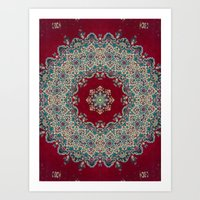 burgundy Art Prints featuring Mandala Nada Brahma  by Elias Zacarias