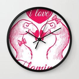 I Love flamingos- couple Wall Clock