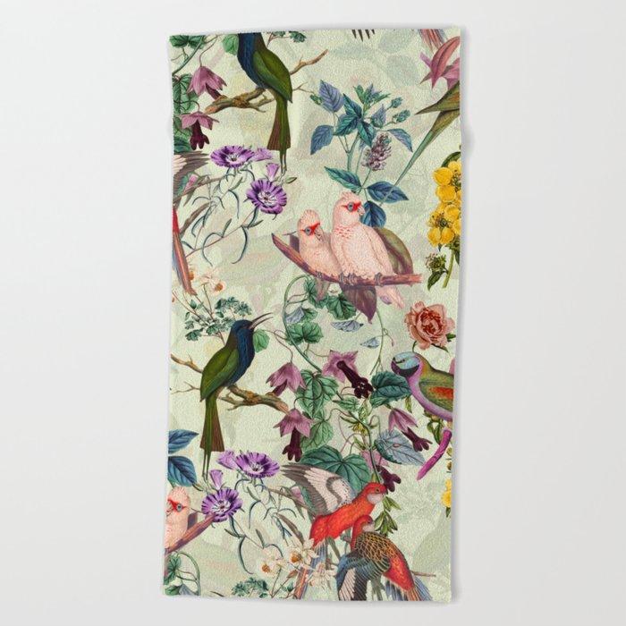 Floral and Birds VIII Beach Towel