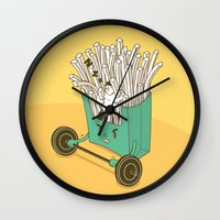 french fries Wall Clocks featuring French fries by BIGMOUTH