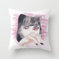 pulp fiction Throw Pillows featuring pulp fiction. by Ruwaa
