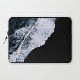 Waves crashing on a black sand beach – minimalist Landscape Photography Laptop Sleeve