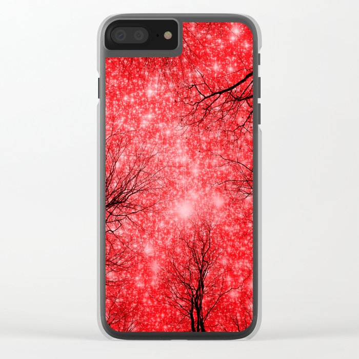 Black Trees Red Space Clear iPhone Case