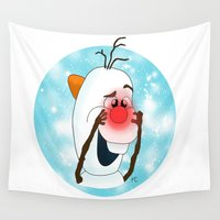 olaf Wall Tapestries featuring Olaf, Your Nose! by alittlecartoonie