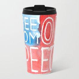 Freedom of Speech - Watercolor Flag Travel Mug