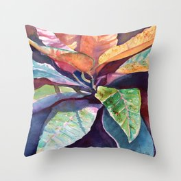 Colorful Tropical Leaves 3 Throw Pillow