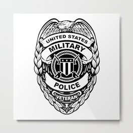 U.S. Military Police Veteran Security Force Badge, Black Line Art Metal Print