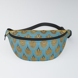 Blue and Gold Mermaid Scales Dreams Fanny Pack