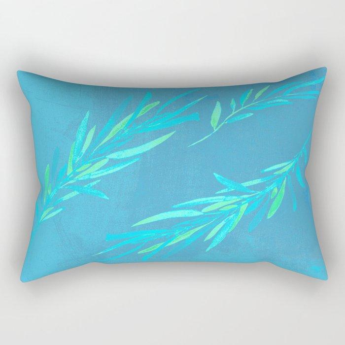 Eucalyptus leaves blue Rectangular Pillow