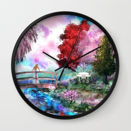 Bridge of Blossoms Wall Clock