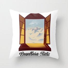 Engelberg-Titlis ski poster Throw Pillow