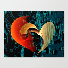 Love Me Abstract Art with Heart Canvas Print