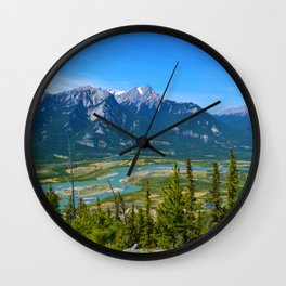 Overlooking the Athabasca River from the Morrow Peak Hike in Jasper National Park, Canada Wall Clock
