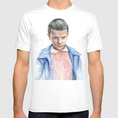 Eleven Stranger Things Watercolor Portrait White Mens Fitted Tee LARGE