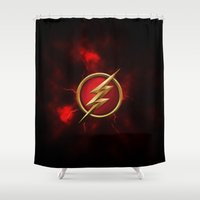 the flash Shower Curtains featuring FLASH - FLASH by albert Junior