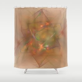 Folds In Muted Rainbow Shower Curtain