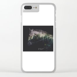 Double Exposure Horse Clear iPhone Case