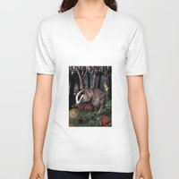 badger V-neck T-shirts featuring badger by ahatom