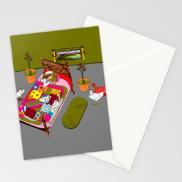 A Farm Girl Sleeps and Her Lady Chickens Play Stationery Cards