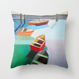 Five Boats Throw Pillow