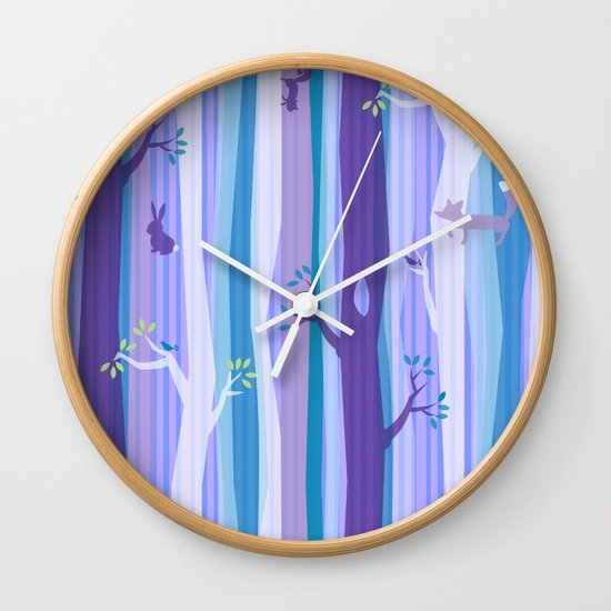 Purple Woodland Stripe Wall Clock
