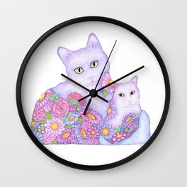 Bart and Clay - A Portrait of Two Cats  Wall Clock