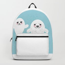 set Funny white fur seal pups, cute winking seals with pink cheeks and big eyes. Kawaii animal Backpack