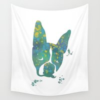 terrier Wall Tapestries featuring Bostons Terrier by Carma Zoe