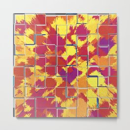 Squares Red & Yellow Abstract Metal Print