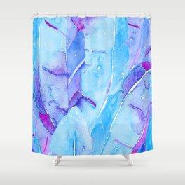 Banana Tree Leaves   Purple & Cyan Blue Shower Curtain