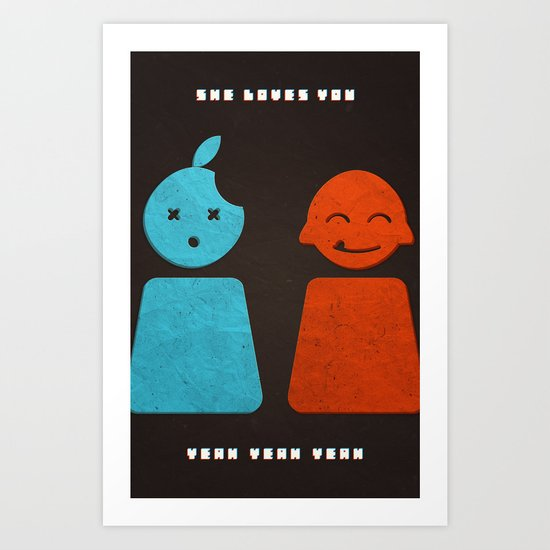 she loves you yeah yeah yeah Art Print