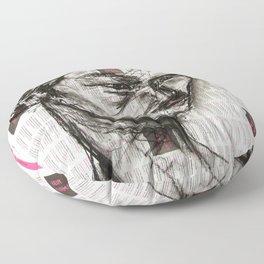 Warrior - Charcoal on Newspaper Figure Drawing Floor Pillow