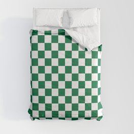 White and Cadmium Green Checkerboard Comforters