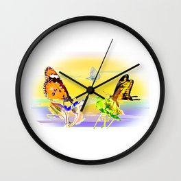 SunsetandButterflies Wall Clock