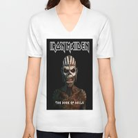 iron maiden V-neck T-shirts featuring Iron Maiden-Book Of Souls by darma1982
