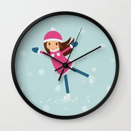 Little girl on skating rink Wall Clock