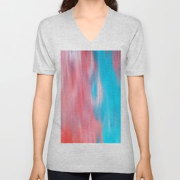 Abstract modern artsy coral teal aqua brushstrokes Unisex V-Neck