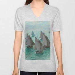 """Claude Monet """"Bateaux de pêche, temps calme"""" Unisex V-Neck"""