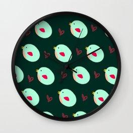 Green Birdies Wall Clock