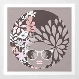 Afro Diva : Sophisticated Lady Pale Pink Peach Beige Art Print