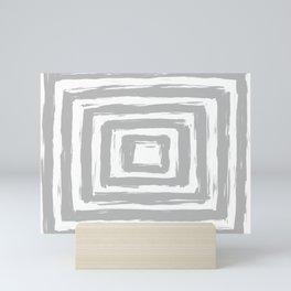 Minimal Light Gray Brush Stroke Square Rectangle Pattern Mini Art Print