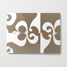 Brown and White Abstract Metal Print