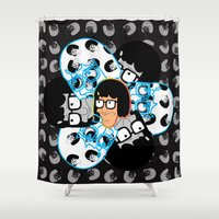 tina crespo Shower Curtains featuring Tina Belcher's Everything is Okay Face by NefariousBear
