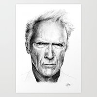 clint eastwood Art Prints featuring Clint Eastwood by Chloé Arros