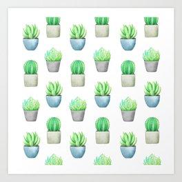 Succulent and Cactus Garden Pots Pattern Art Print